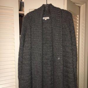 Loft chunky open gray long cardigan
